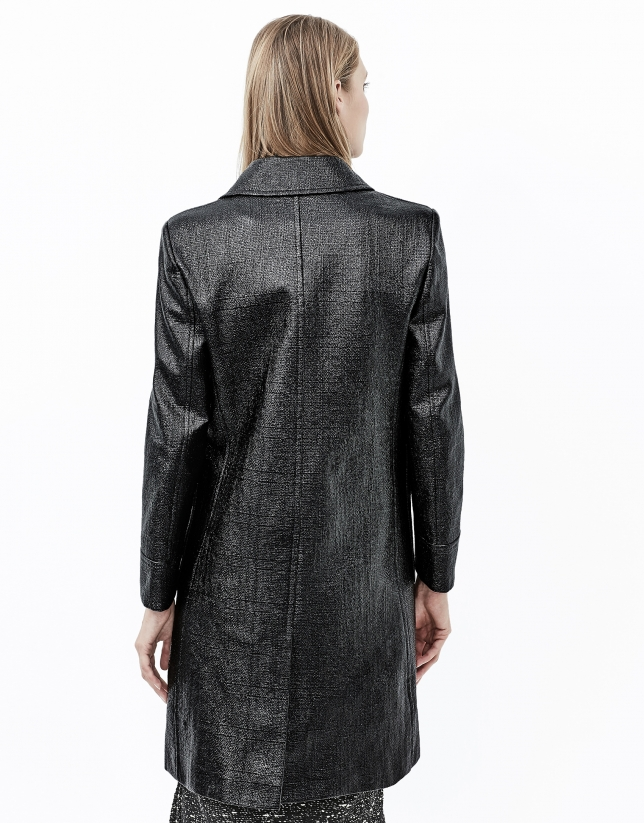 Black embossed alligator leather trench coat