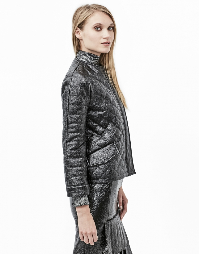 Embossed alligator leather quilted jacket