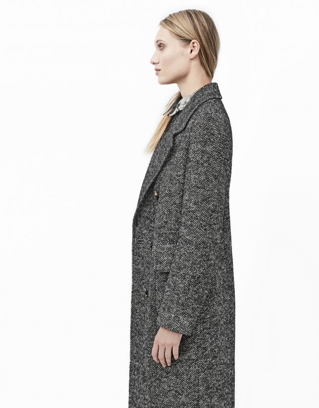 Manteau gris en tweed chevron