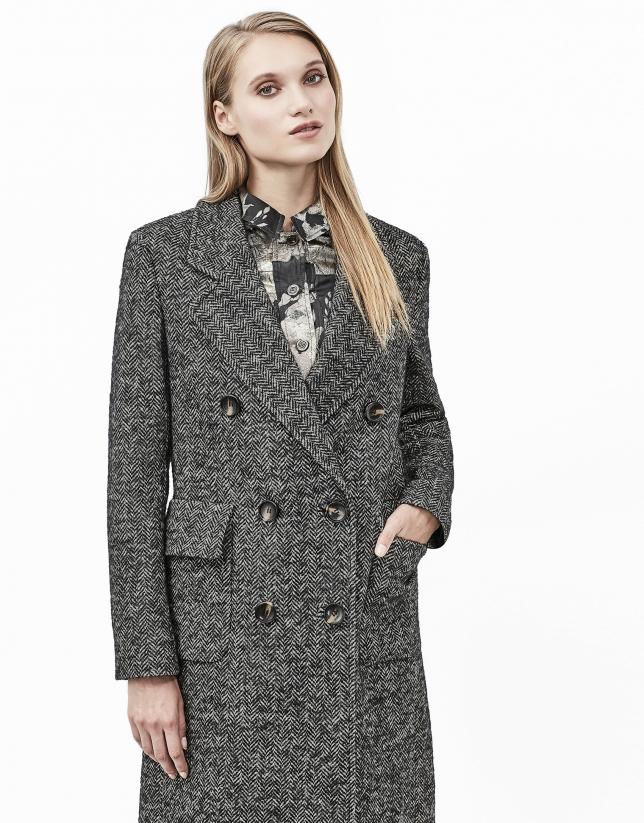 Abrigo tweed espiga gris