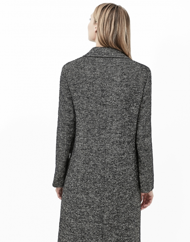 Gray herringbone tweed coat