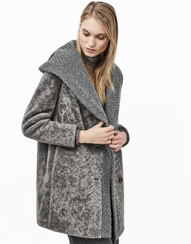 Veste grise en cuir d'agneau