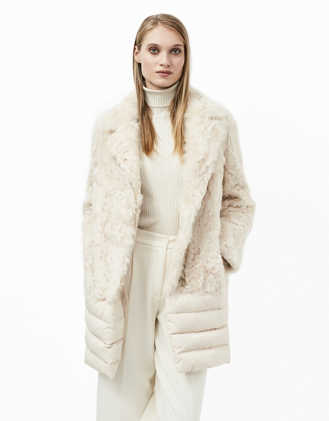 Beige fur and down quilted coat