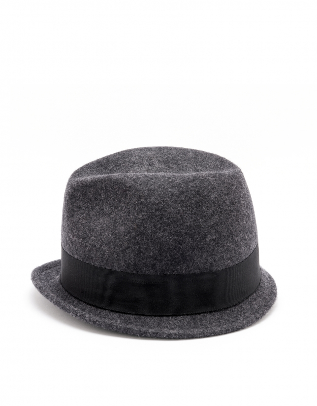 Gray short brim hat