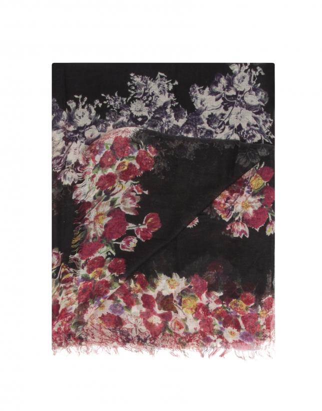 Châle imprimé à fleurs sur fond noir