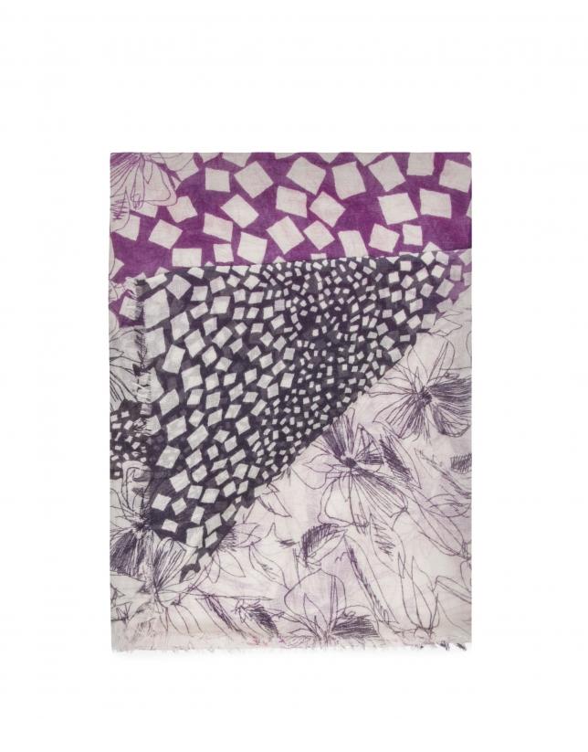 Châle imprimé géométrique noir et rose
