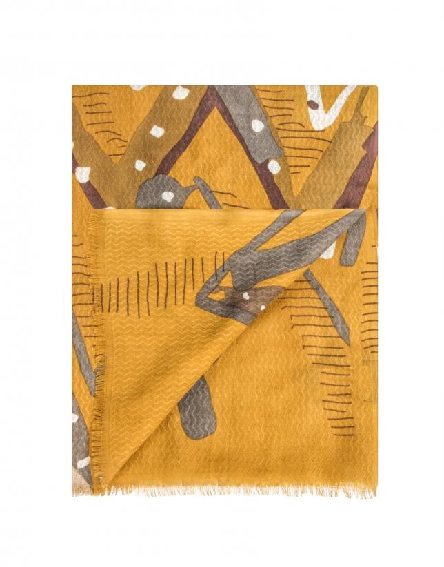 Mustard geometric print shawl