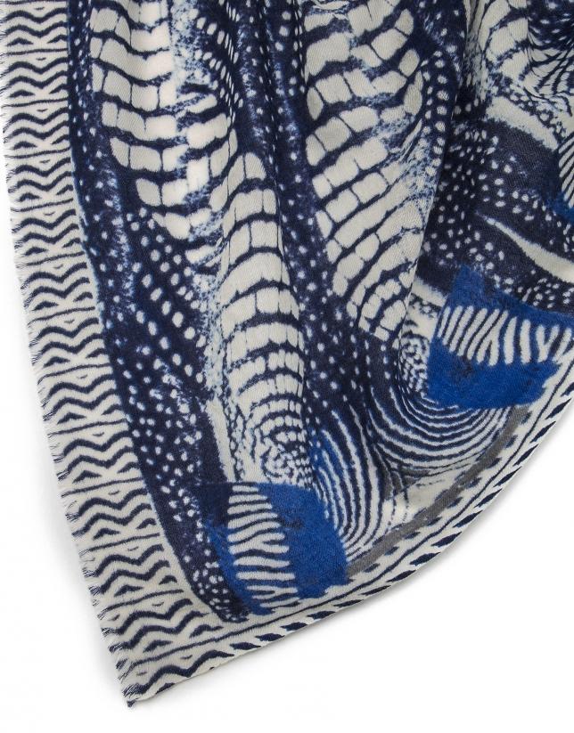 Blue mosaic print shawl