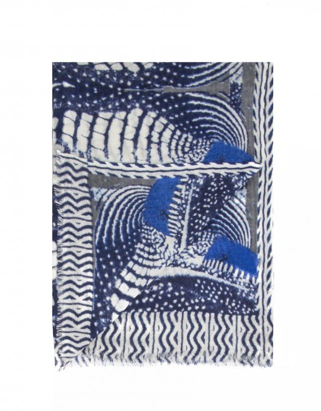 Châle imprimé de mosaïques bleues