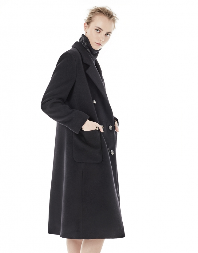 Black coat with double row of buttons