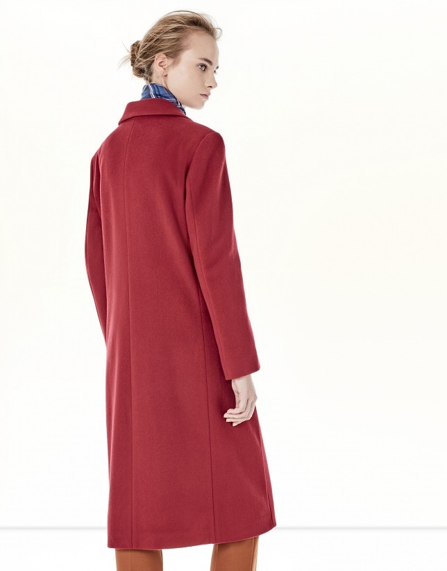 Red coat with double row of buttons