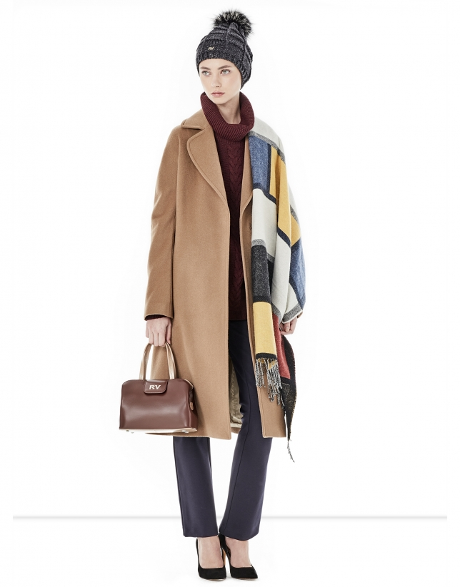 Long brown coat with belt.