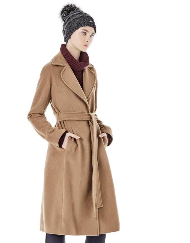 Long brown coat with belt.