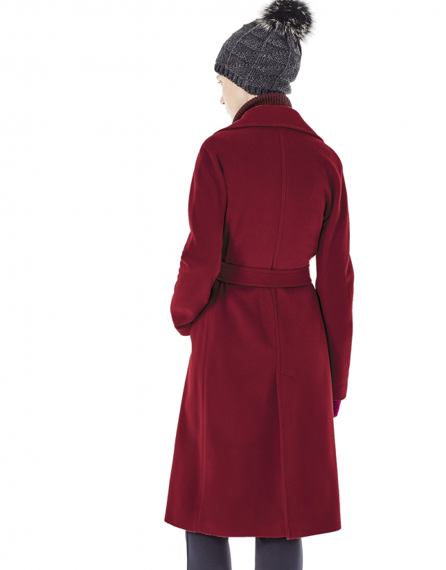 Long burgundy coat with belt.