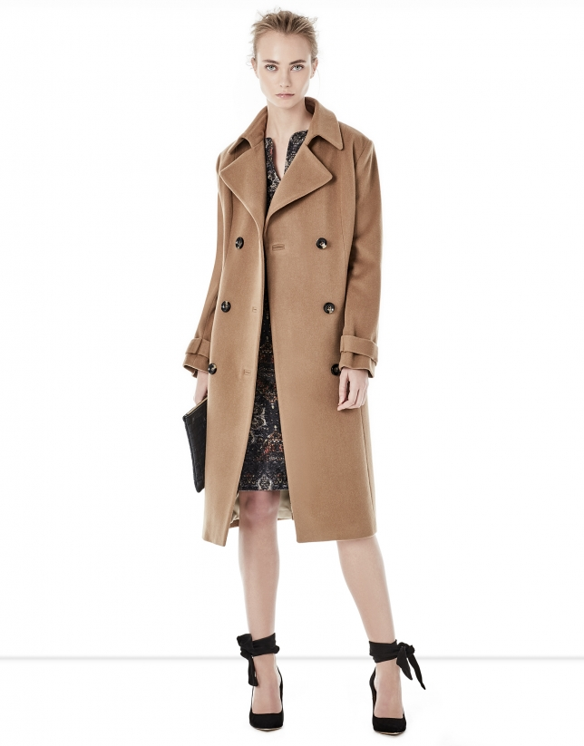 Long brown coat with straight cut