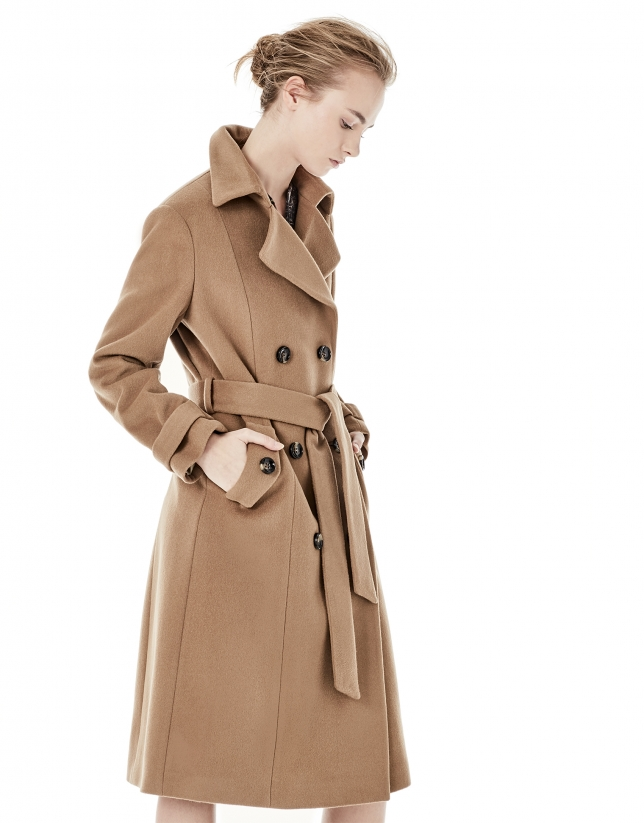 Manteau marron coupe style gabardine