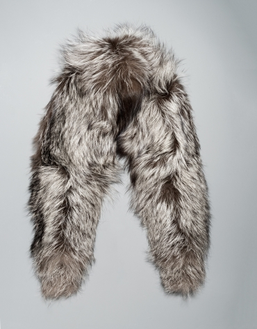 Small gray fox fur collar