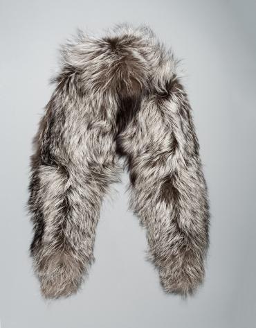 Tour de cou petit en peau de renard gris