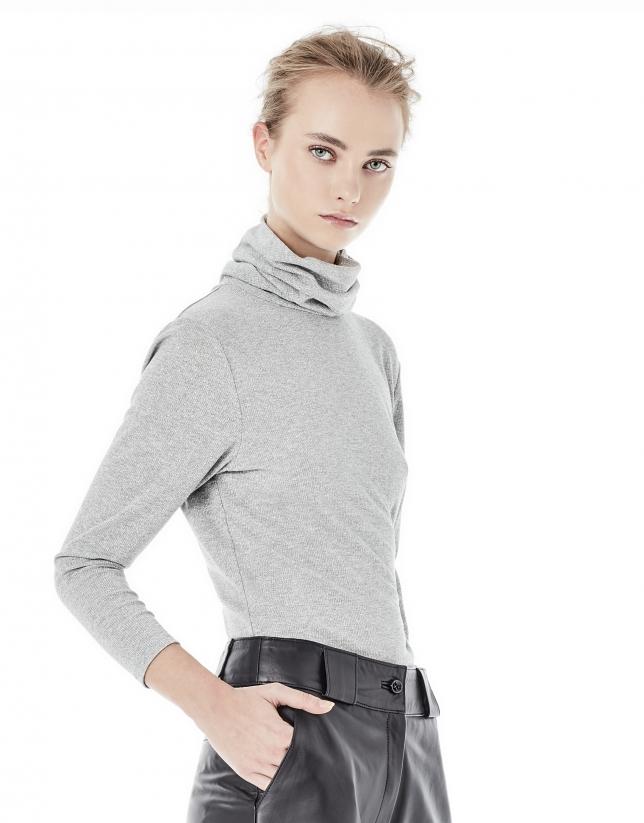 T-shirt brillant gris clair