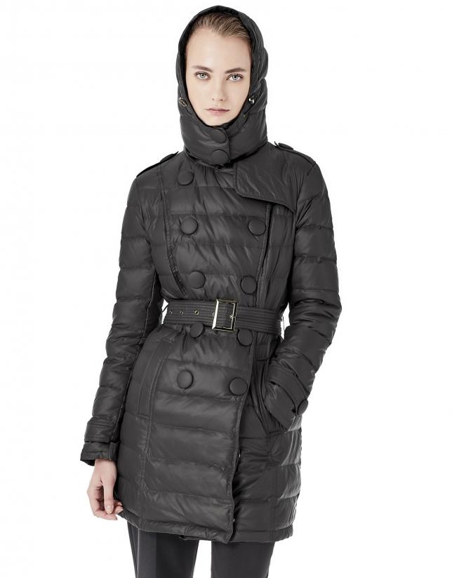 Doudoune longue noir à capuche