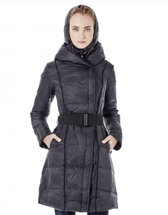 Long black windbreaker with hood