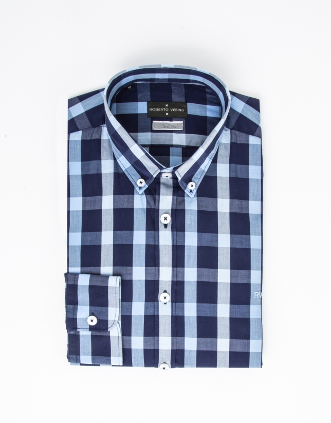 Blue and navy checked dress shirt