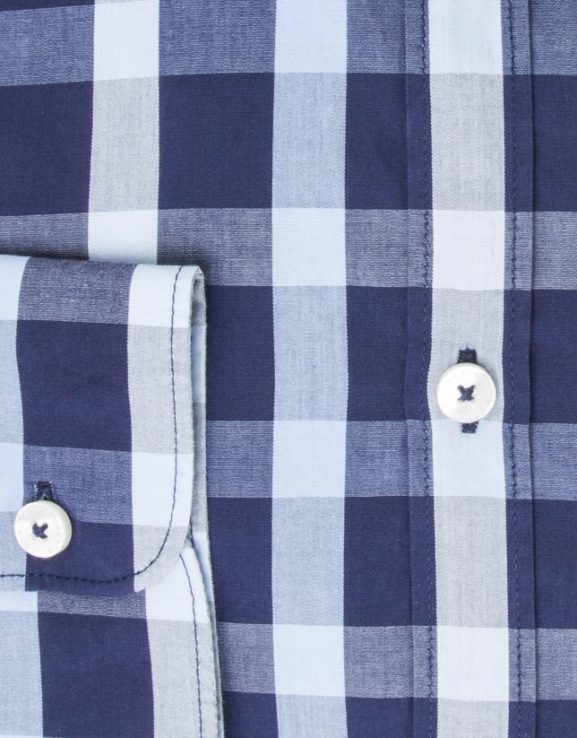Camisa vestir cuadros marino/celeste