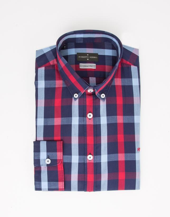 Chemise de costume à carreaux rouge