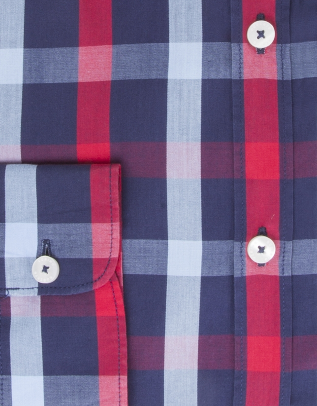 Navy and red checked dress shirt