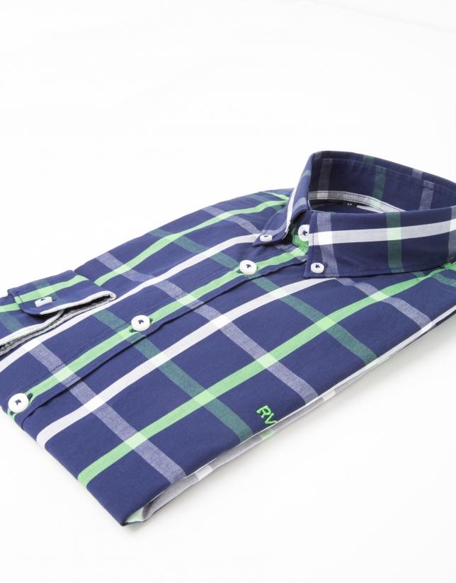 Chemise de costume à carreaux bleue/vert