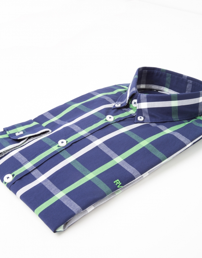 Navy and green checked dress shirt