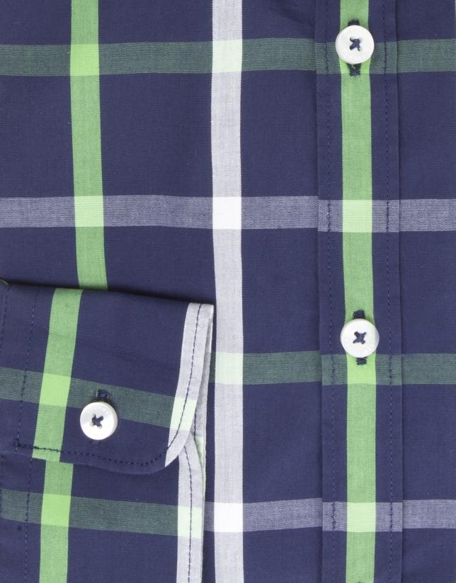 Camisa vestir cuadros marino/verde