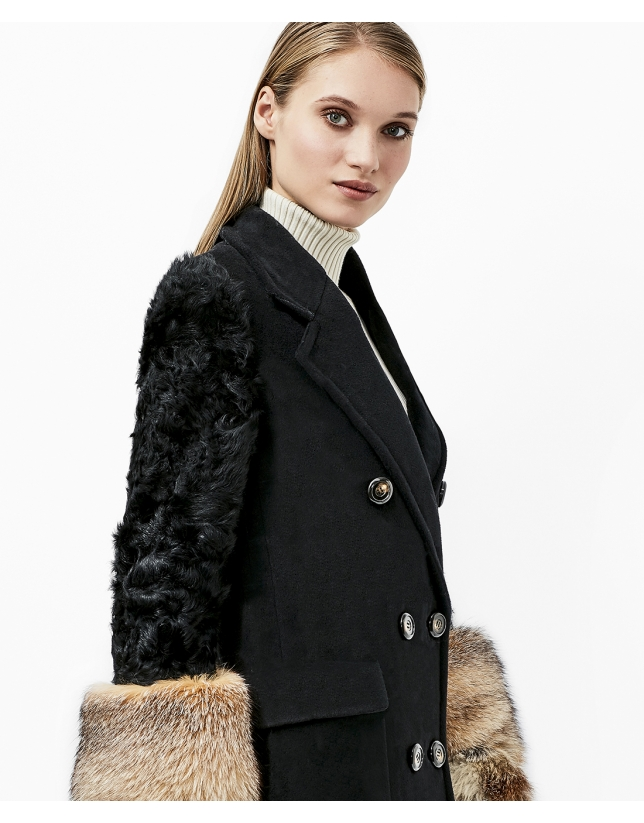Black coat with fur sleeves