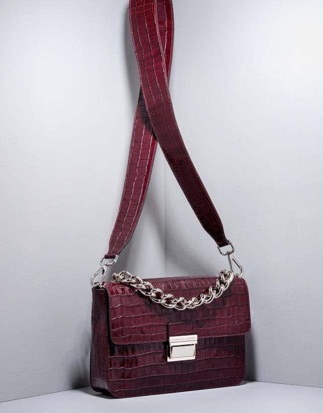 Burgundy alligator leather Joyce purse