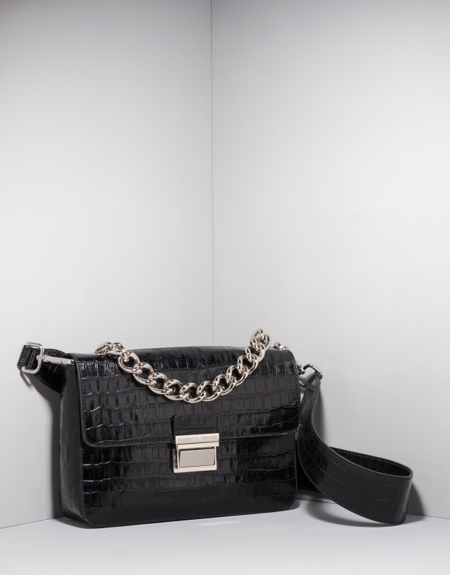 Black alligator leather Joyce purse