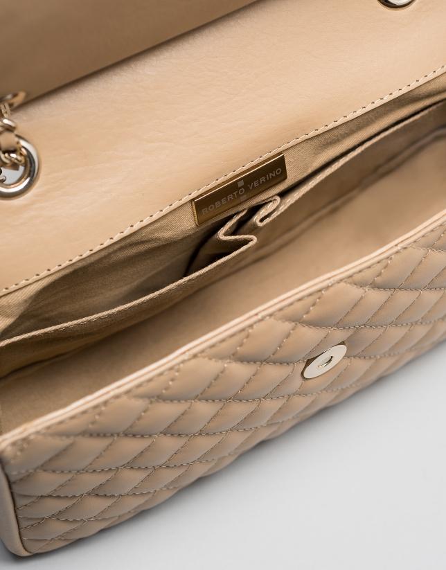 Camel leather Ghauri shoulder bag