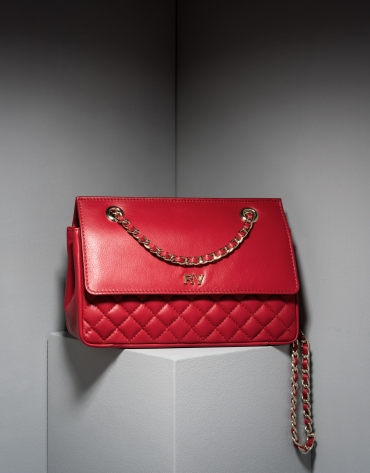 Sac shoulder Ghauri en cuir rouge