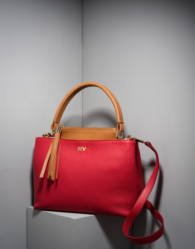 Red/camel Keops mini leather tote bag