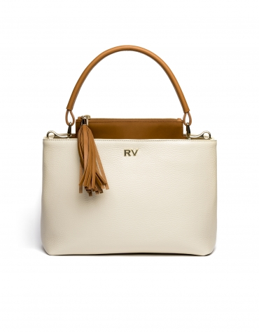 Beige/camel Keops mini leather tote bag