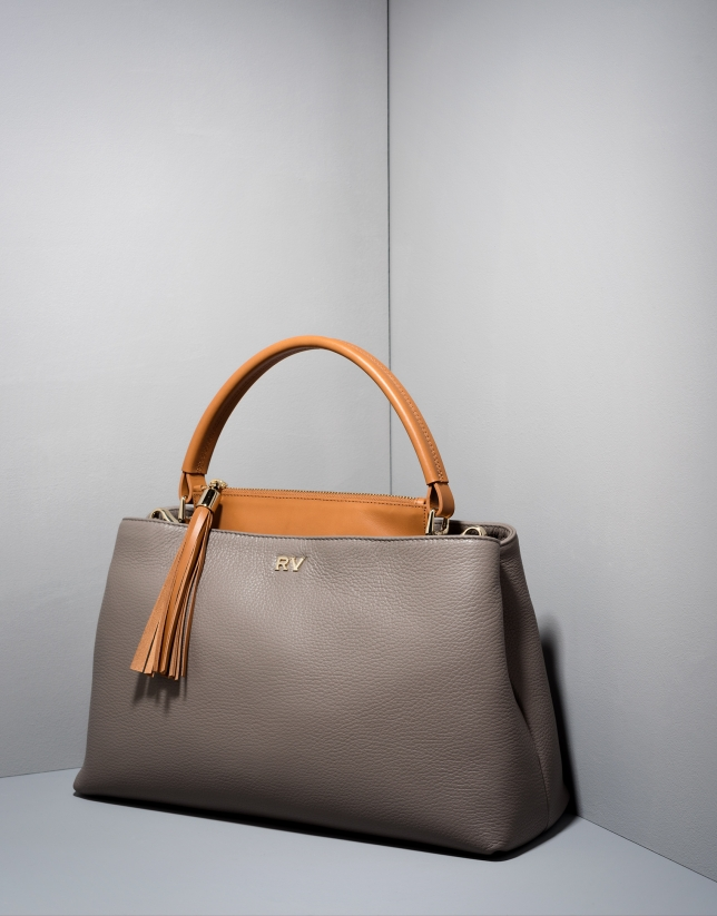 Gray/camel leather Keops tote bag