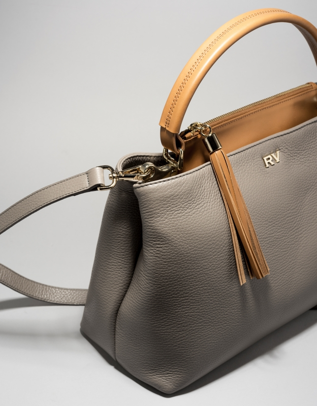 Bolso tote piel gris/camel Keops