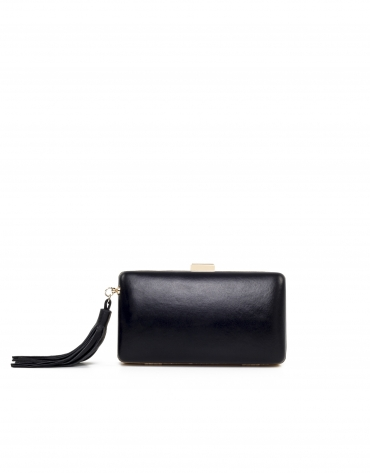 Black leather clutch Danse