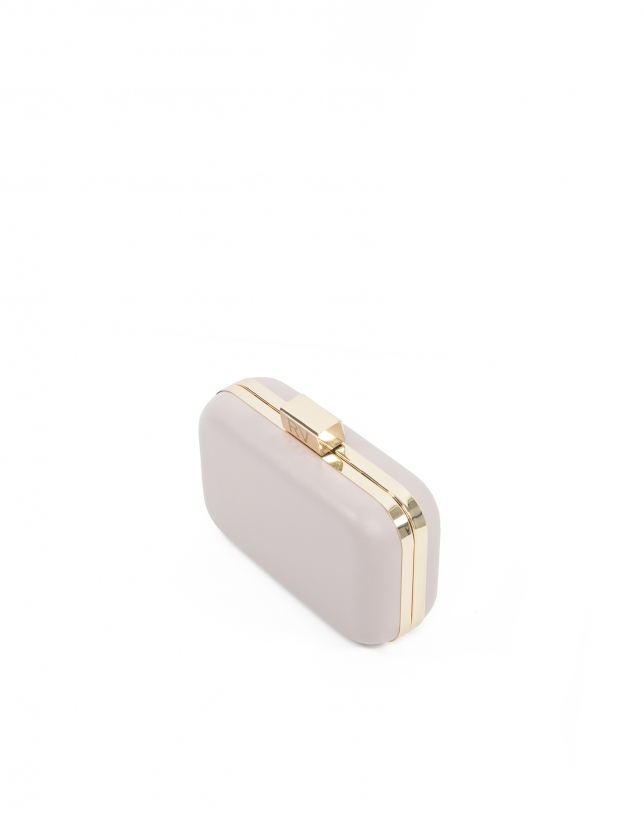 Nude pink leather clutch Rose