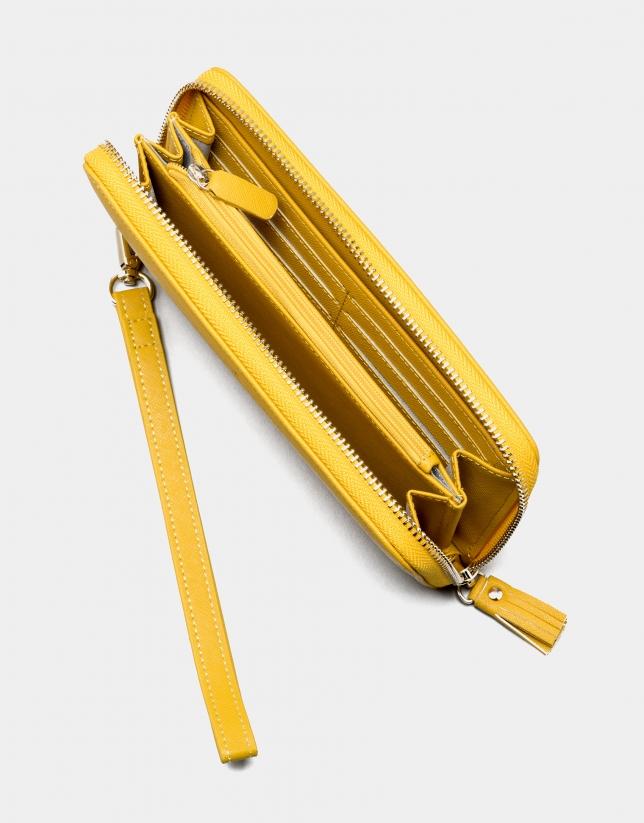 Cartera piel saffiano amarilla