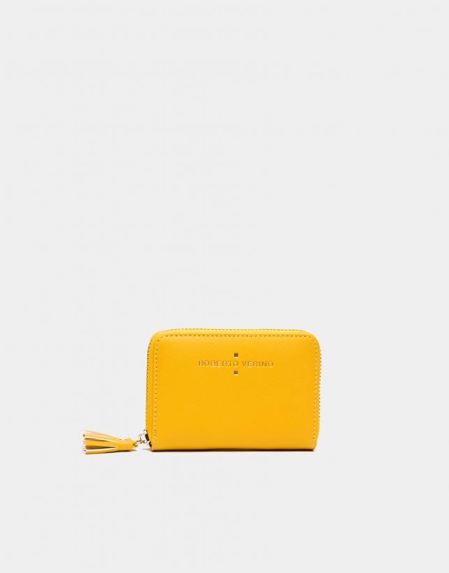 Yellow Saffiano leather mini coin purse