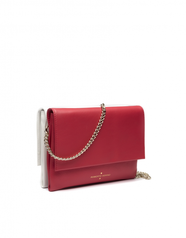 Red/white Day-Night shoulder bag