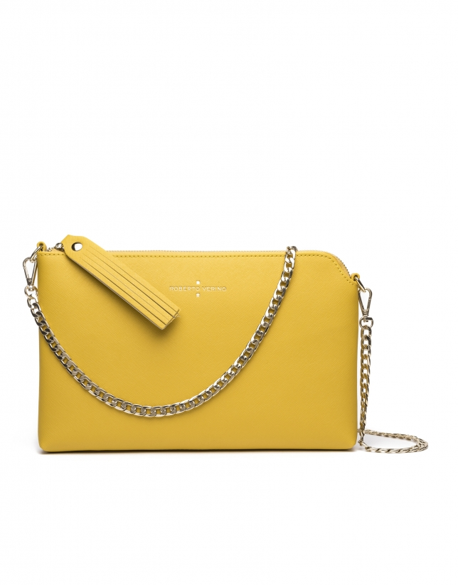 Yellow Saffiano leather Lisa Clutch