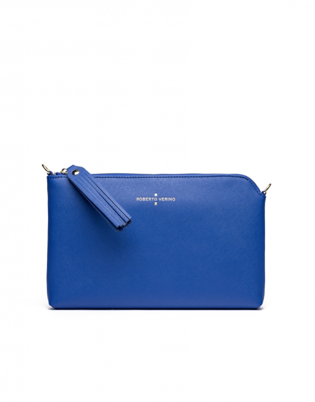 Blue Saffiano leather Lisa Clutch