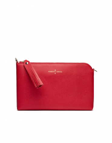 Bright red Saffiano leather Lisa Clutch
