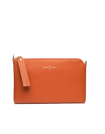 Orange Saffiano leather Lisa Clutch